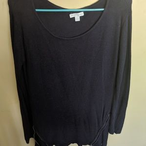 Used Navy New York & Co. Bottom accent zip sweater